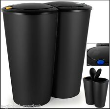 Double Recycling Bin Plastic Waste 2 Compartment Garbage Dustbin Can 50L Black