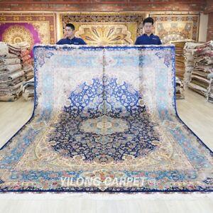 9x12ft Large Silk Area Rugs Medallion Blue Medallion Carpets Handmade 622A