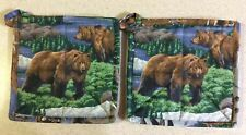 New listing New, Set Of 2, Hand Crafted, Camper Or Cabin, Brown Bear, Hot Pads, Pot Holders