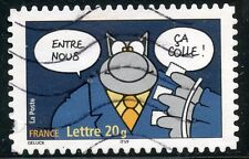 TIMBRE FRANCE  AUTOADHESIF OBLITERE N° 65 SOURIRES / LE CHAT / PHILIPPE GELUCK