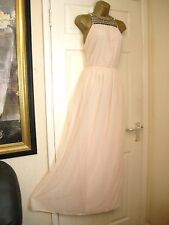 8 VILA PEACH BLUSH EMBELLISHED CHIFFON MAXI DRESS SUMMER HOLIDAY BRIDESMAID