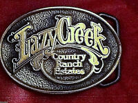 Lazy Creek Country Ranch Estates Solid Brass Vintage Belt Buckle  Free shipping!