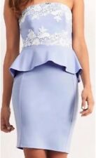 New Lipsy @ Next Size 10 Cornflower,Blue Lace Peplum Bandeau Dress Evening Party