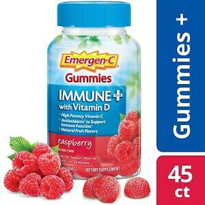 Emergen-C Vitamin C Immune Plus Gummy with Vitamin D - Raspberry, 45 Gummies