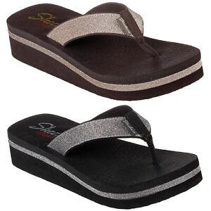 Skechers Vinyasa - Unicorn Mist Flip Flops Womens Wedge Toe Post Sandals 31605