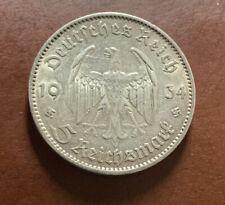 Nazi 5 Reichsmarks 1934 VF Silver Coin