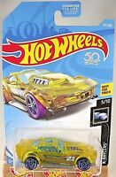 2018 Hot Wheels #177 X-Raycers 5/10 DRIFT ROD Transparent Yellow w/Blue Pr5spoke