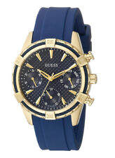 GUESS Women's U0562L2 Sporty Gold-tone Watch Blue Dial Silicone Strap