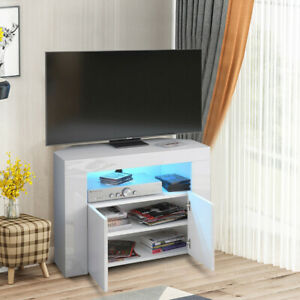 High Gloss Corner TV Unit Cabinet Stand for Living Room Sideboard RGB LED Light