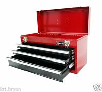 NEW Portable 3 Drawer Steel Tool Box Red Storage Cabinet Chest FREE 3 DAY SHIP