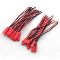 10Pair 100mm JST Connector Plug Cable Line Male+Female for RC BEC Lipo Battery F