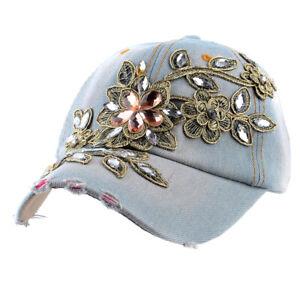 Light Blue Flower Bling Rhinestone Hats Womens Baseball Cap Jeans Wash Denim