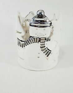 Bath & Body Works Xmas Snowman Ceramic Silver White Large Candle Holder Slatkin