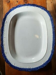 """Early 1800s Large Leeds Ironstone Blue Feather Edge Platter 16 1/4"""" x 13""""w"""