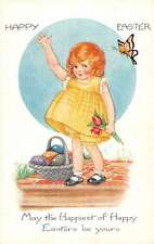 Happy Easter Child With Flowers Colored Eggs Butterfly Antique Postcard K24778