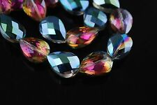 7pcs Hot Colorized Glass Crystal Faceted Teardrop Beads 18mm Spacer Findings