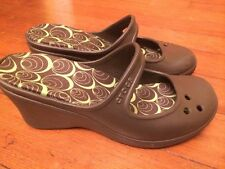 Womens Crocs Wedge High Heeled Brown/Lime Green Size 8