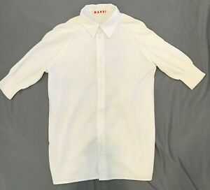 Marni Women's White Cotton/Knit Mid Sleeve Shirt Size 38