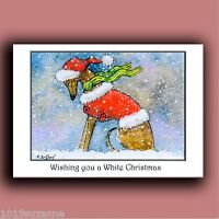NEW DESIGN 6 PACK OF GREYHOUND DOG IN SNOW CHRISTMAS CARDS BY SUZANNE LE GOOD