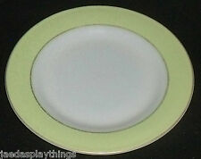 "Pyrex Lime Green Band Milk Glass Salad Plate 8.25"" Gold Trim FREE US Ship"