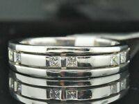 MENS 14K WHITE GOLD PRINCESS DIAMOND WEDDING BAND RING