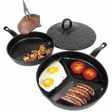 Duo Grill Divide Griddle 3in1 2in1 Pack Of 2 Pan Set 30cm & 25cm Non Stick Fry