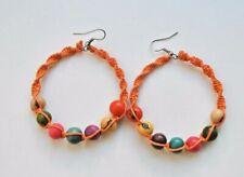 Pendientes Mujer De Aro Naranjas Son De Macrame Y Semillas De Tagua Boho Hippie