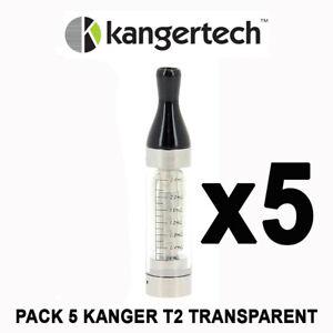 Pack 5 KANGER T2 TRANSPARENT - 2,4ml - Clearomiseur KANGERTECH T2- AUTHENTIQUE