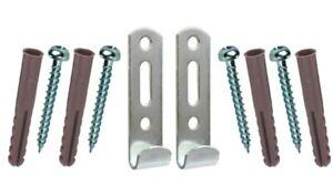 Picture Mirror Hangers 2x Heavy Duty J Hook Frame Hanging Kit Fittings Hard Wall