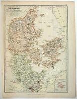 Denmark - Original 1882 Map by Blackie & Son. Schleswig Holstein. Antique