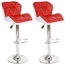2x tabouret de bar Hamilton, chaise de comptoir, similicuir ~ rouge
