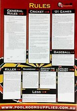 DART Board Darts General RULE CHART mounting instructions Cricket Keller
