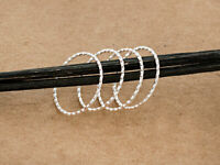 925 Sterling Silver 4 Hammered Circle Closed Rings, Connectors 20.5x1mm.
