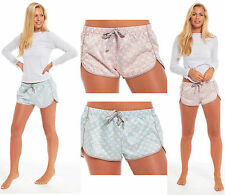 Ladies Satin Bed Pyjama Shorts Night Matte Mosaic Oriental Fair Isle Pink Aqua