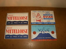 4 anciens buvards - années 50's - EAU EAUX - VITTEL vittelloise + VOLVIC + EVIAN