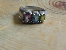 Kabana~Amethyst, Blue Topaz, Peridot & Sterling Silver .925 Ring size 8