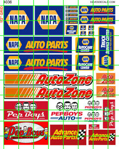 4036 DAVE'S DECALS GAS/OIL ASSORTED AUTO PARTS STOE NAPA AUTOZONE PEPBOYS