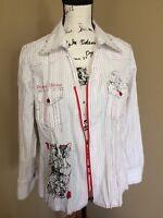 PULI sz L Dealers Choice Women Shirt Top white w/ Red stripes Zip up Long Sleeve