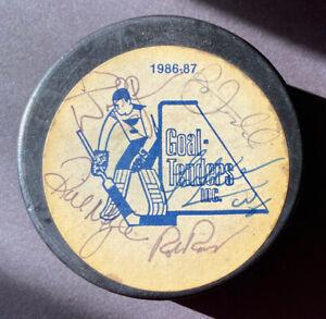 Doug Wickenheiser Bernie Ferderko et al. 1986-87 St Louis Blues Autographed Puck