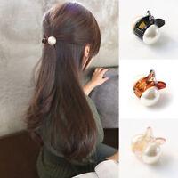 Women Elegant Crystal Hair Clip Pearl Hairpin Claw Clamp Headwear Bang Clip