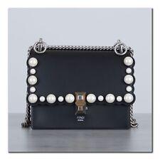 FENDI 2490$ Authentic New Black Leather KAN I Mini Bag With Beads