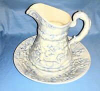 Vintage Blue And White Large Wash Bowl And Pitcher