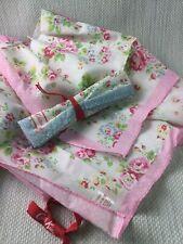 Cath Kidston 2 x Cotton Napkins Floral Mismatched Picnic Pink Blue W955