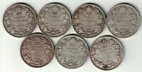7 X CANADA TWENTY FIVE CENTS QUARTERS KING GEORGE V SILVER COINS 1930-1936
