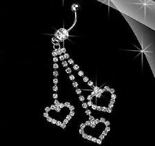 TRIPLE LOVE HEART Belly Bar Button Ring Body Piercing Crystal Rhinestone Navel