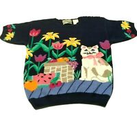 Vintage 90s Northern Isles Hand Embroidered Cat Floral Sz S Sweater Short Sleeve