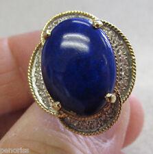 High Quality Estate Lapis Lazuli & Diamond Ring 14k Gold size 6-1/2  Make Offer