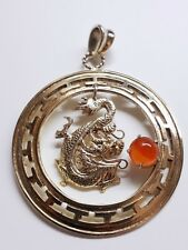 Dragon Round Pendant with Gemstone Silver Gold Plated. *Vintage Hand Made*