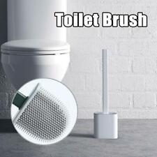 Silicone Toilet Brush Wall Mounted Flat Head Flexible Soft Bristle Brush New