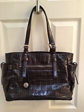 Francesco Biasia Dark Brown Leather Large Tote Bag Purse Pristine!!!